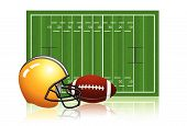 American football field with ball and helmet