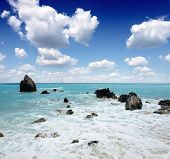 wild beautiful natural archipelago beach with rocks in water