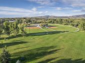 image of collins  - aerial view of a local park with baseball fields in Fort Collins - JPG