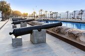 Cartagena cannon in naval museum with port at Murcia Spain