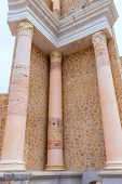 Ancient columns in Cartagena Roman Amphitheater at Murcia Spain