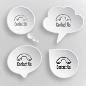 Contact us. White flat vector buttons on gray background.