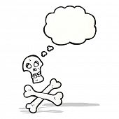 stock photo of skull crossbones  - cartoon graffiti style skull and crossbones - JPG
