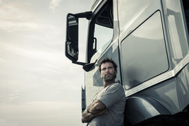 picture of truck-stop  - Portrait of a truck driver - JPG