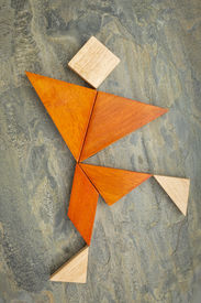 picture of tangram  - abstract of a dancing - JPG