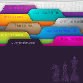 stock photo of swot analysis  - Colorful tabs folder with chess doodle and words like marketing strategy - JPG