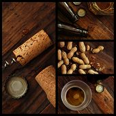 Pub collage includes closeups of near empty beer glasses with bottle caps and bottles, corks with corkscrew, and peanuts on rustic wood background.  Top view images with low key directional lighting.
