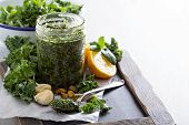 stock photo of kale  - Kale pesto with pistachios - JPG