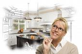 picture of combinations  - Creative Woman With Pencil Over Custom Kitchen Design Drawing and Photo Combination on White - JPG