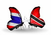 Two Butterflies With Flags On Wings As Symbol Of Relations Thailand And Trinidad And Tobago