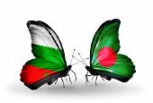 Two Butterflies With Flags On Wings As Symbol Of Relations Bulgaria And Bangladesh