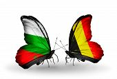 Two Butterflies With Flags On Wings As Symbol Of Relations Bulgaria And Belgium