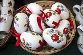 Artistic Traditional Hungarian Handmade Porcelain Easter Eggs In Basket