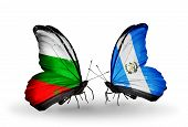 Two Butterflies With Flags On Wings As Symbol Of Relations Bulgaria And  Guatemala
