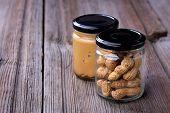 Fresh Made Creamy Peanut Butter In A Glass Jar