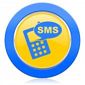 sms blue yellow icon phone sign