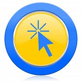 click here blue yellow icon