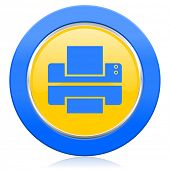 printer blue yellow icon print sign