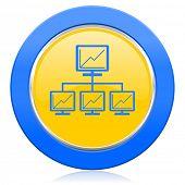 network blue yellow icon lan sign