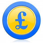 pound blue yellow icon
