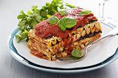 stock photo of lasagna  - Vegan lasagna with tomato sauce - JPG