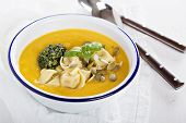Pumpkin cream soup with cheese tortellini