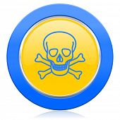 skull blue yellow icon death sign