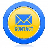 email blue yellow icon contact sign