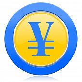 stock photo of yen  - yen blue yellow icon   - JPG