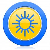 sun blue yellow icon waether forecast sign