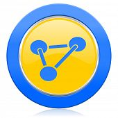 chemistry blue yellow icon molecule sign