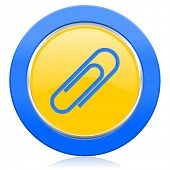 paperclip blue yellow icon