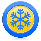 snow blue yellow icon air conditioning sign