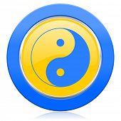stock photo of ying-yang  - ying yang blue yellow icon   - JPG