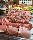 Fresh Raw Meat For Barbecue In A Store