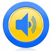 volume blue yellow icon music sign