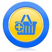 cart blue yellow icon shopping cart symbol