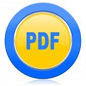 pdf blue yellow icon