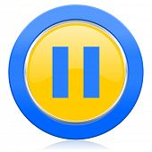 pause blue yellow icon