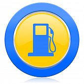 petrol blue yellow icon gas station sign