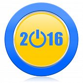 new year 2016 blue yellow icon new years symbol