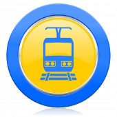 train blue yellow icon public transport sign