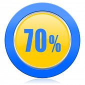 70 percent blue yellow icon sale sign