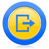 exit blue yellow icon
