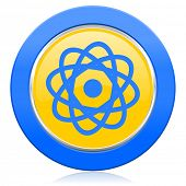 atom blue yellow icon