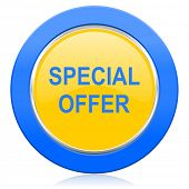 special offer blue yellow icon