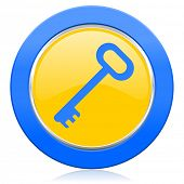 key blue yellow icon secure symbol