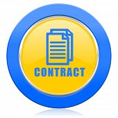 contract blue yellow icon