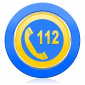 emergency call blue yellow icon 112 call sign
