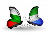 Two Butterflies With Flags On Wings As Symbol Of Relations Bulgaria And Sierra Leone